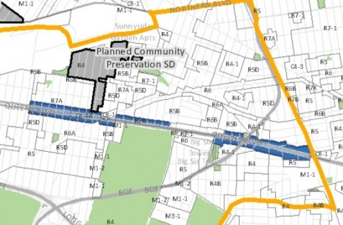 Blue line indicates where xx feet upzoning will be permitted under proposal