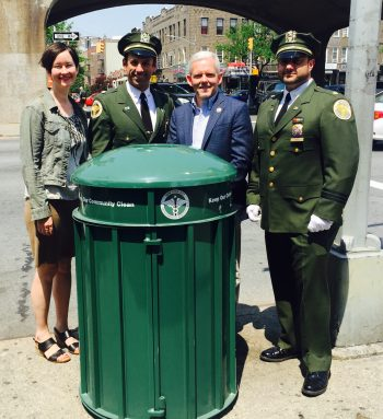 jvb dsny new trash garbage cans queens boulevard