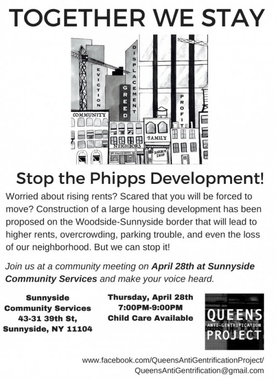Queens Anti Gentrification Group Forms Aims To Torpedo Phipps 10 Story Proposal Sunnyside Post