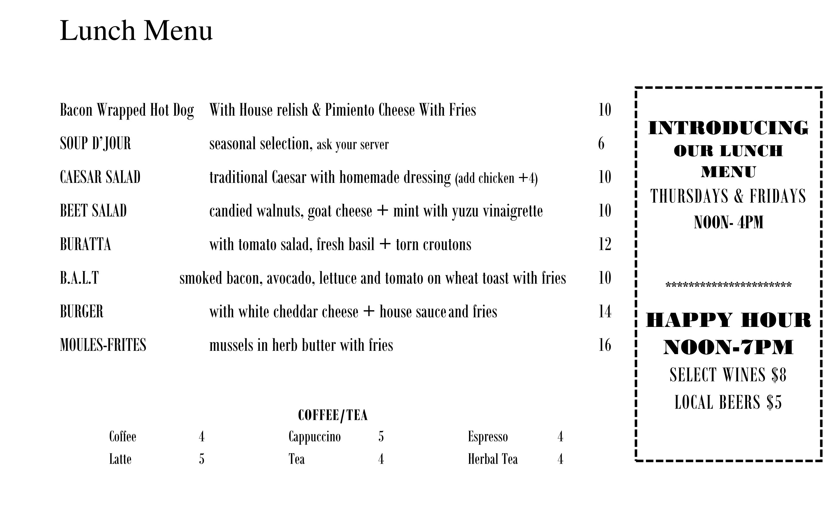 Lunch Menu (Click to Enlarge)
