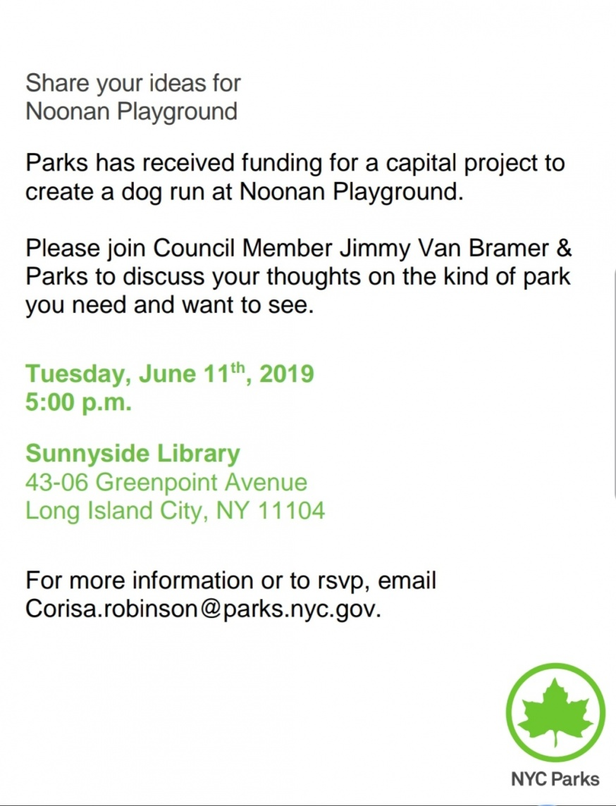 Dog Run Likely to be Installed at Noonan Playground, Meeting